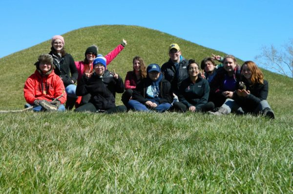 undergrad students on a hill