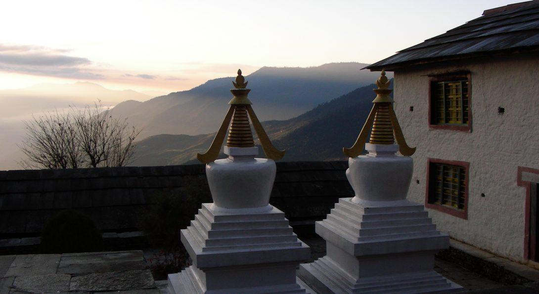 Buddhist funerary chortens at Tashi Chhime Gachhal Gompa (Bigu Nunnery Monastery), Bigu, Dolakha District, Nepal, February 2008